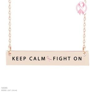 """Jewelry - """"KEEP CALM FIGHT ON"""" MESSAGE NECKLACE ROSE GOLD"""
